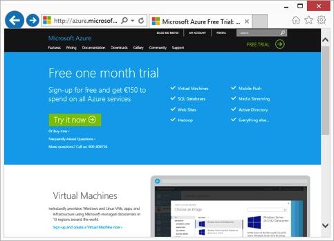 screenshot website azure ein monat gratis