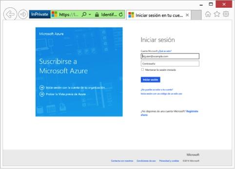 screenshot login seite von microsoft azure website