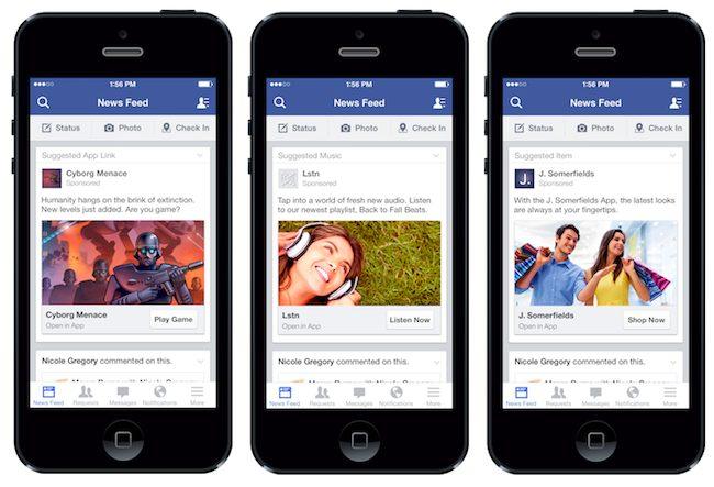 facebook news feed auf drei iphones