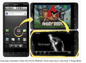 video werbeanzeige bei start von angry bird app