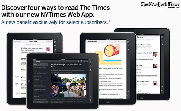 nytimes werbung mit vier ipads