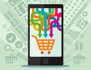 pfeile in einkaufswagen auf smartphonedisplay