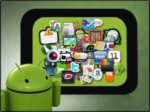android maennchen vor android app symbolen