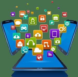 ipad und iphones mit symbolen in mitte