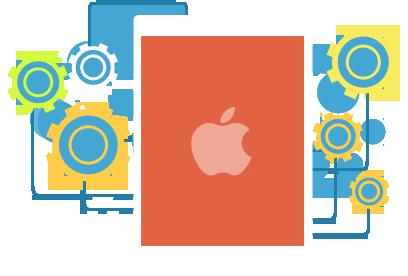 apple logo mit zahnraedern