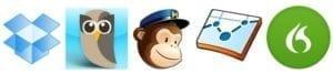 fuenf app logos nebeneinander