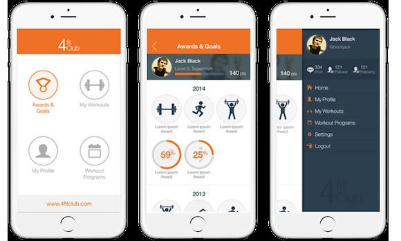 prototyp einer app auf drei weissen iphones