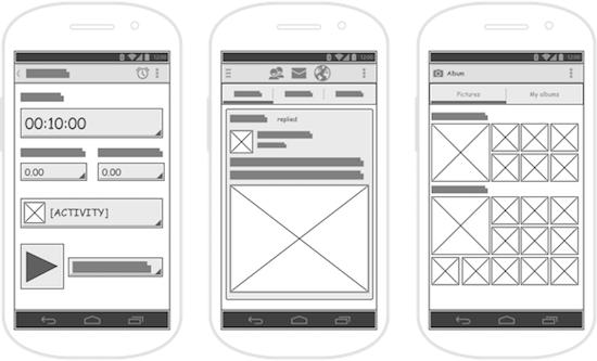 wireframes einer app