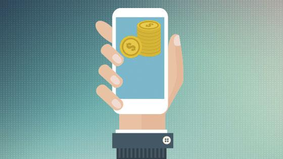 darstellung hand haelt smartphone mit geldmuenzen im bildschirm