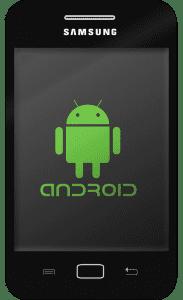 schwarzes samsung smartphone mit android maennchen auf display