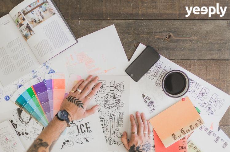 kreatives Büro eines Designers- app farben logo