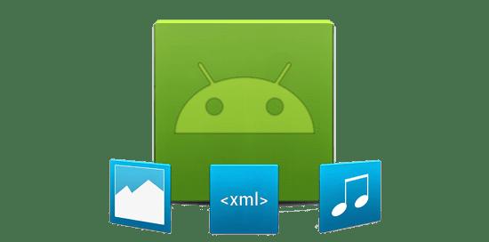 gruenes android logo mit blauen symbolen fuer musik xml und bilder app