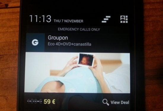 push nachricht von groupon auf handy