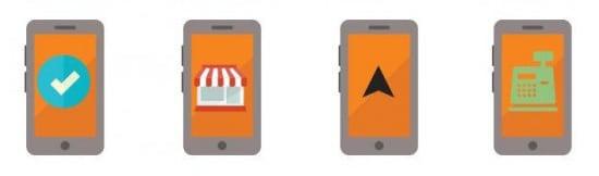 vier smartphones mit jeweils einem symbol