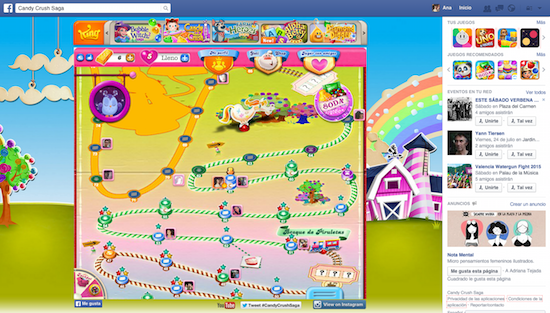 candy crush spiel in facebook