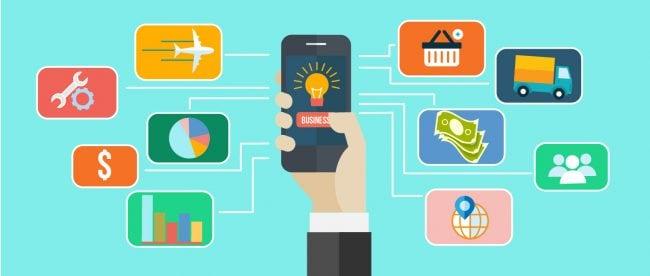 darstellung smartphone mit business symbolen