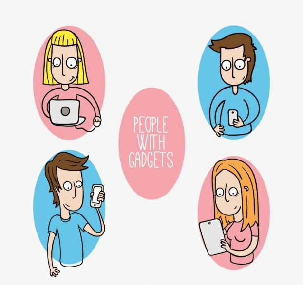 people with gadgets mit vier personen