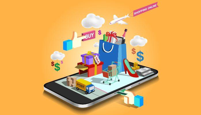 darstellung verschiedene shopping symbole auf smartphone