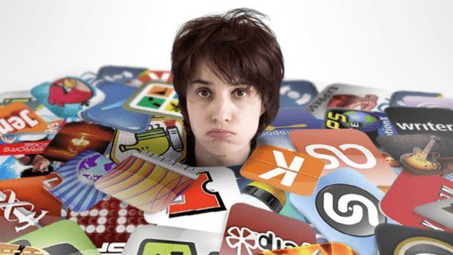zu viele apps begraben frau
