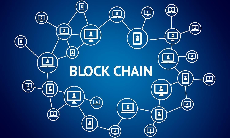 Blockchain schrift mit vernetzten symbolen