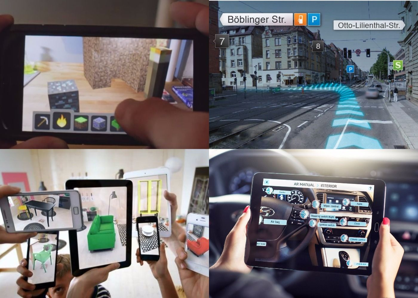 vier Beispiele Anwendungen Augmented Reality