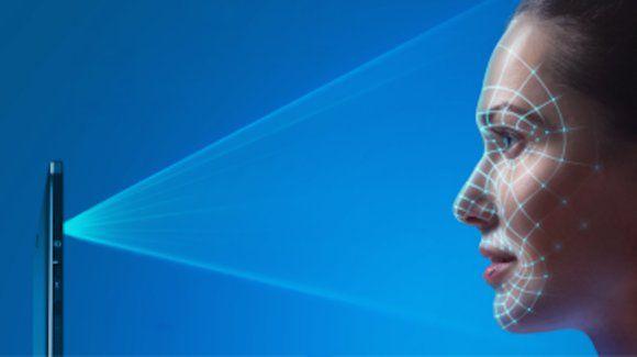 Handykamera Scanner Gesichtserkennung von frau