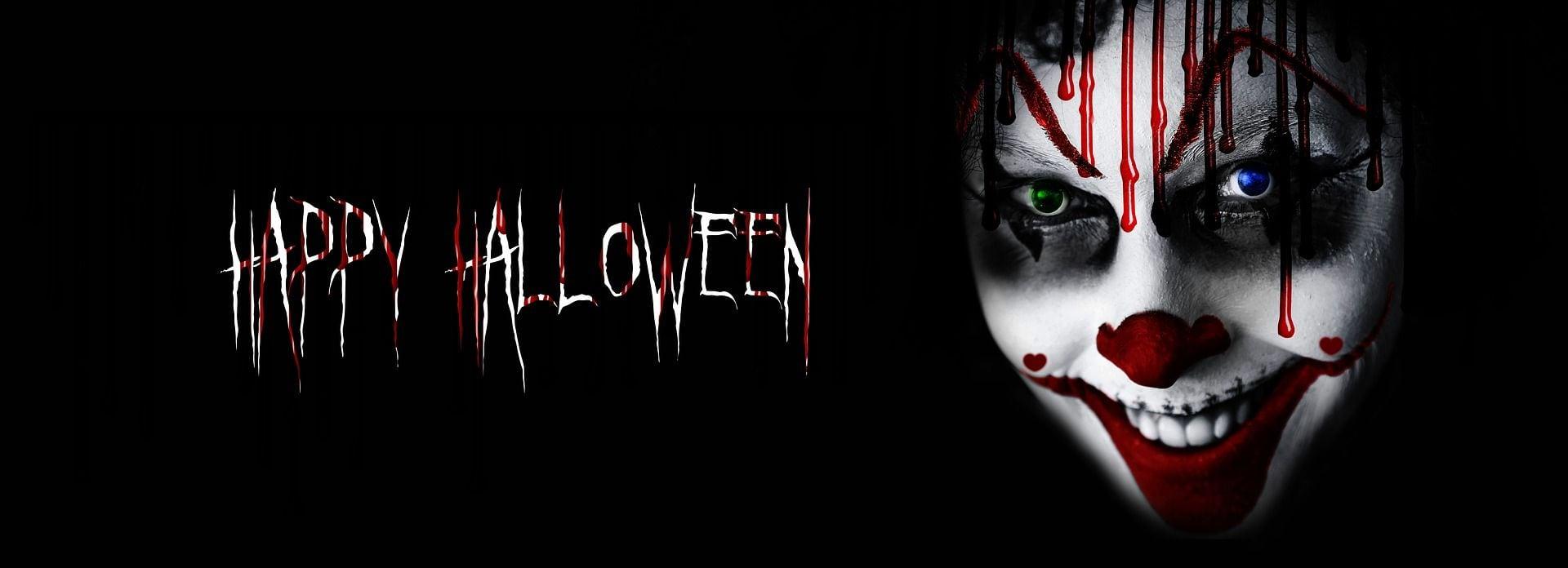 Happy Halloween schriftzug mit blutigem clown