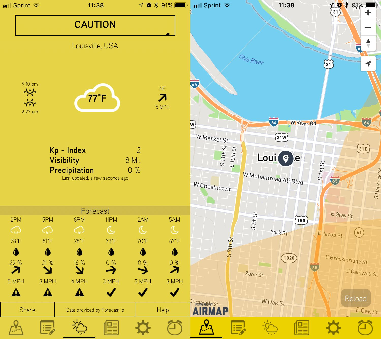 Drohnen-App Hover stadtplan mit wetterbeschreibung