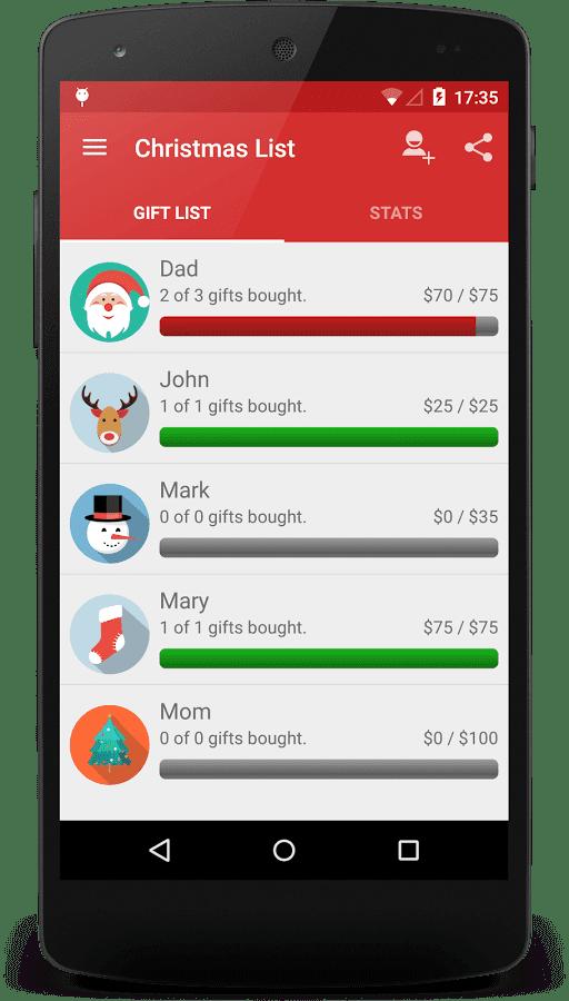 Weihnachtsapp Christmas List auf smartphone