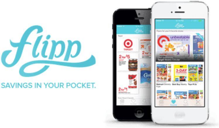 flipp app auf schwarzem und weissem iphone