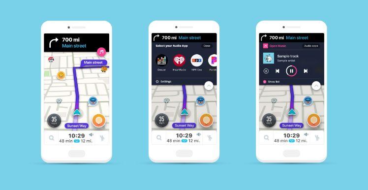 waze app darstellung auf drei smartphones