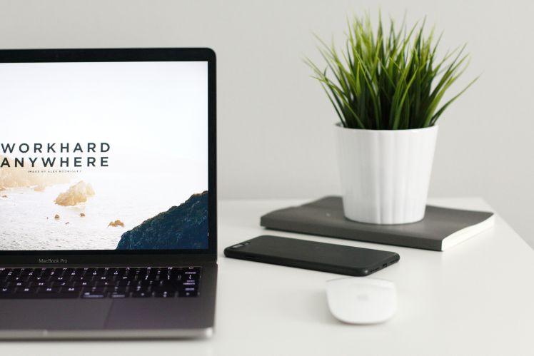 macbook auf schreibtisch neben pflanze notizbuch und iphone