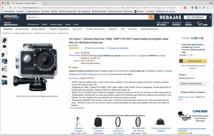 screenshot produkseite einer kamera von amazon