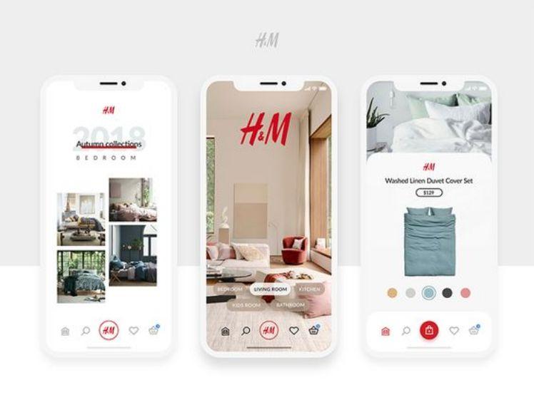 drei weisse smartphones mit h und m app