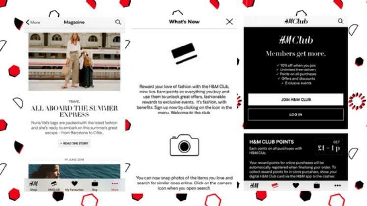 screenshot drei smartphone bildschirme mit hum club und magazin