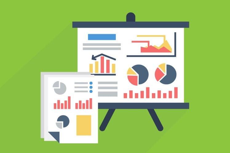 Statistiken und Graphen auf einem Blatt und einer Leinwand
