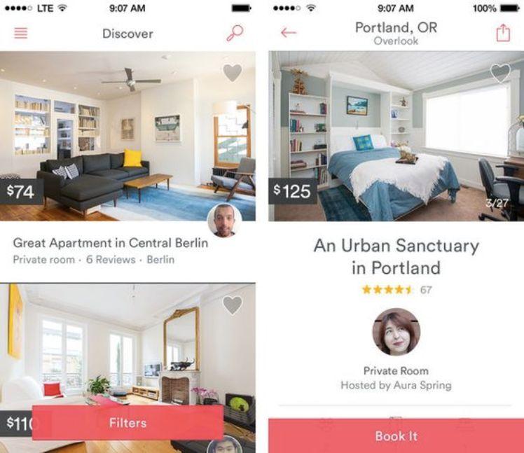 Screenshot von Airbnb App Anzeigen