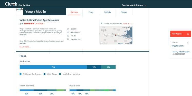 Screenshot yeeply mobile bewertung von clutch