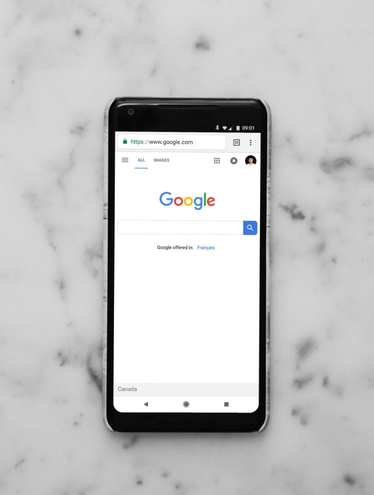google startseite in smartphone geoeffnet