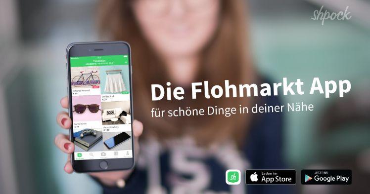 Werbung von Shpock mit frau die smartphone mit app in der hand haelt