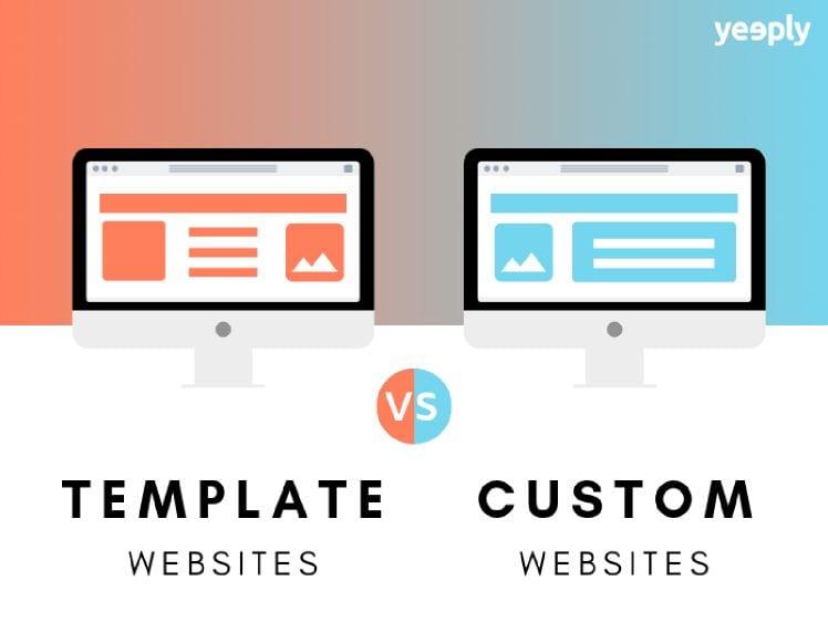 Schaubild template website vs custom website