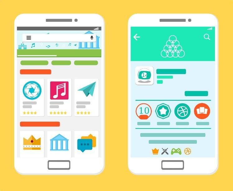 Zwei smartphones mit android app ranking im google app store