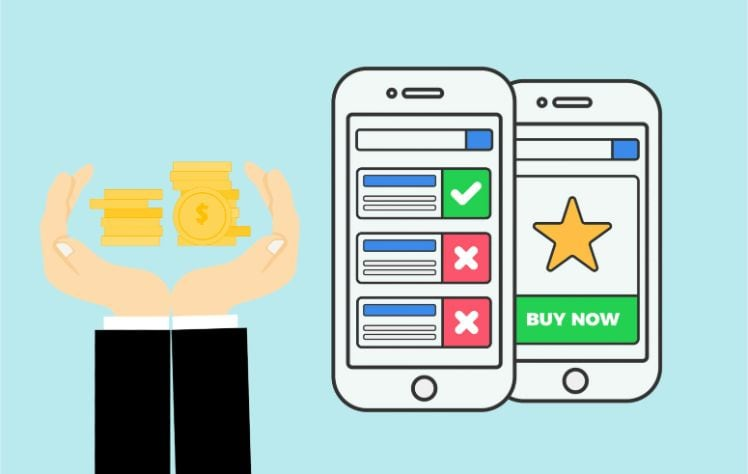 Zwei Smartphones mit App store daneben haende mit geld