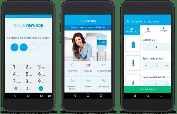 aquaservice app auf drei schwarzen smartphones