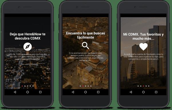 drei schwarze smartphones mit app
