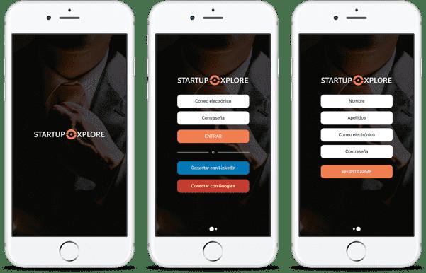 startup xplore app auf drei weissen iphones
