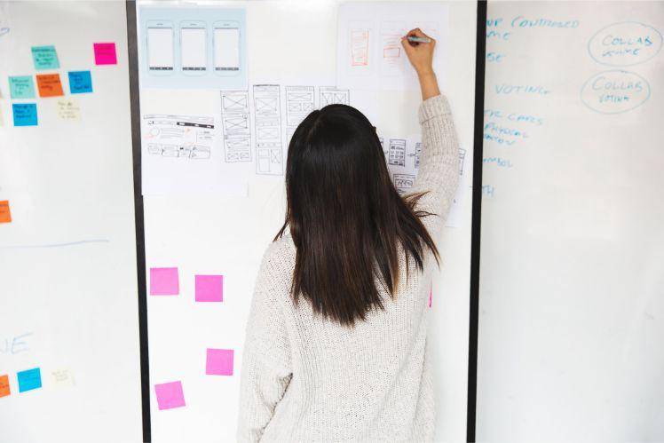 Frau steht an Tafel vor wireframes und mockups einer app