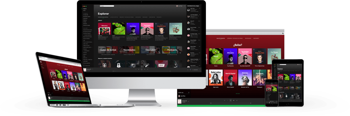 Spotify auf dem Computer, Laptop, Pad, Smartphone