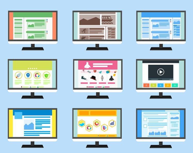 neun Bildschirme mit verschiedenen websites