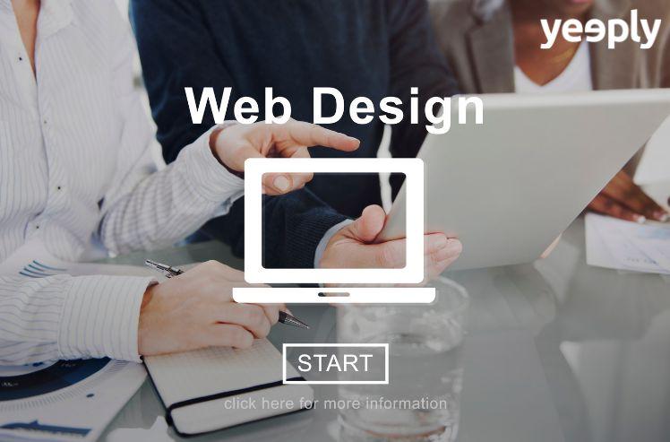 geschaeftsleute am tisch mit laptop in der mitte und Aufschrift Web design